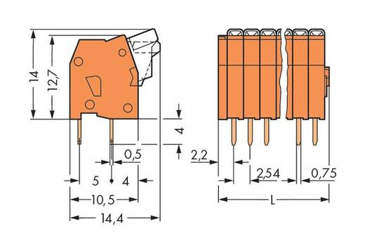 Federkraftklemmblock 0.50 mm² Polzahl 10 WAGO Orange 180 St.
