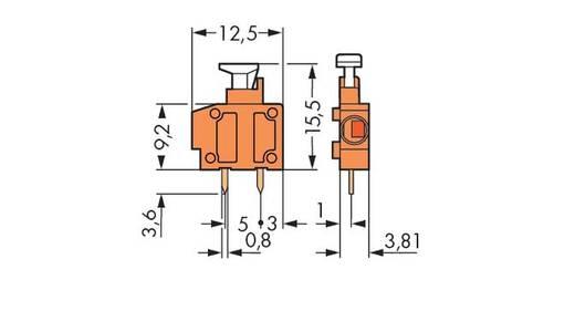 Federkraftklemmblock 1.50 mm² Polzahl 1 WAGO Gelb 800 St.