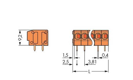 Federkraftklemmblock 0.75 mm² Polzahl 4 235-104/330-000 WAGO Orange 280 St.
