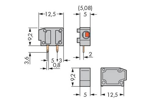 Federkraftklemmblock 1.50 mm² Polzahl 1 235-742 WAGO Dunkel-Grau 800 St.