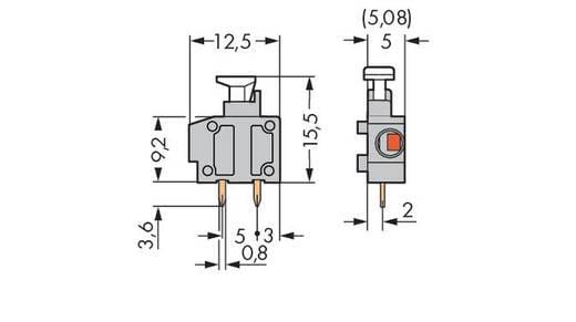 Federkraftklemmblock 0.75 mm² Polzahl 1 235-748/331-000 WAGO Schwarz 800 St.