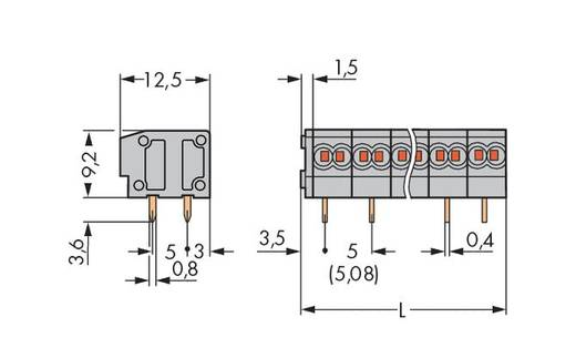 Federkraftklemmblock 0.34 mm² Polzahl 2 235-452 WAGO Grau 420 St.