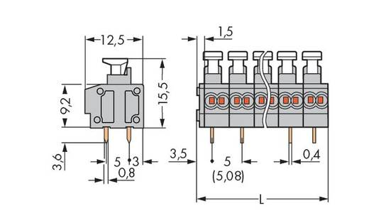 Federkraftklemmblock 0.34 mm² Polzahl 2 235-452/331-000 WAGO Grau 420 St.