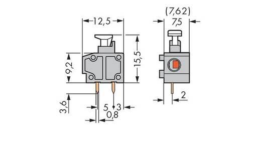 Federkraftklemmblock 0.75 mm² Polzahl 1 235-752/331-000 WAGO Dunkel-Grau 600 St.