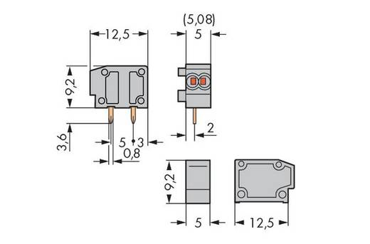 Federkraftklemmblock 0.34 mm² Polzahl 1 WAGO Licht-Grau 800 St.