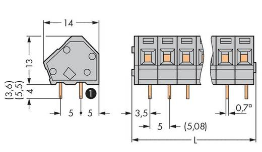 Federkraftklemmblock 2.50 mm² Polzahl 2 236-402/332-000 WAGO Grau 420 St.