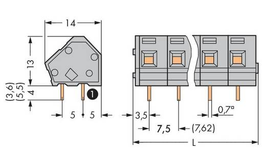 Federkraftklemmblock 2.50 mm² Polzahl 3 WAGO Licht-Grau 200 St.