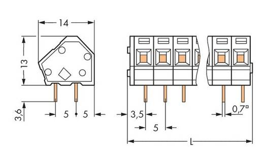 Federkraftklemmblock 2.50 mm² Polzahl 4 WAGO Schwarz 220 St.