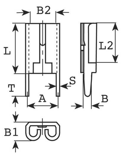 Flachsteckhülse zum Einlöten in gedruckte Schaltungen Steckbreite: 4.8 mm Steckdicke: 0.8 mm 180 ° Unisoliert Metall Vogt Verbindungstechnik 3826F08.68 1 St.