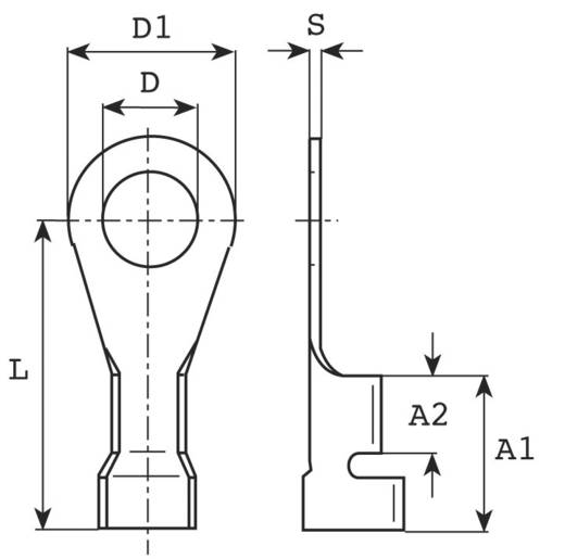 Ringkabelschuh Querschnitt (max.)=2.5 mm² Loch-Ø=4.3 mm Unisoliert Metall Vogt Verbindungstechnik 3334A.67 1 St.