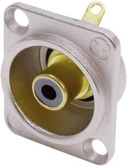 Cinch konektor Neutrik NF2D0, přírubová zásuvka, rovná, pólů 2, stříbrná, černá, pozlacený, 1 ks