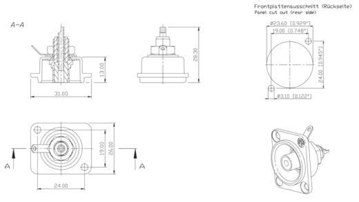 Cinch-Steckverbinder Flanschbuchse, Kontakte gerade Polzahl: 2 Silber, Rot Neutrik NF2D2 1 St.