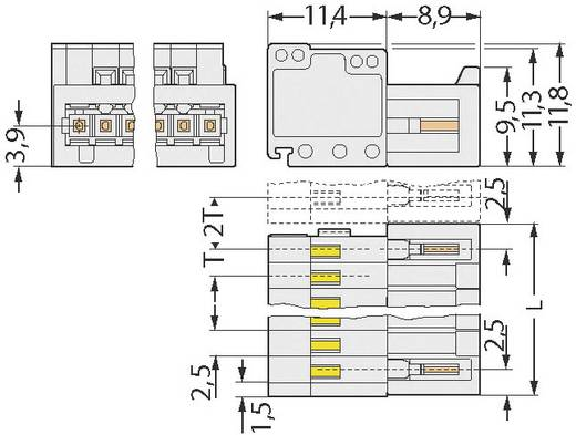 Stiftgehäuse-Kabel 733 Polzahl Gesamt 3 WAGO 733-203 Rastermaß: 2.50 mm 1 St.
