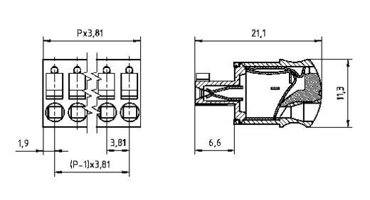 Buchsengehäuse-Kabel AK(Z)4551 Polzahl Gesamt 4 PTR 54551040421F Rastermaß: 3.81 mm 1 St.