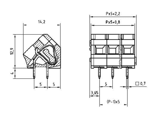 Federkraftklemmblock 2.50 mm² Polzahl 8 AK3000/8-5.0 PTR Kiesel-Grau 1 St.