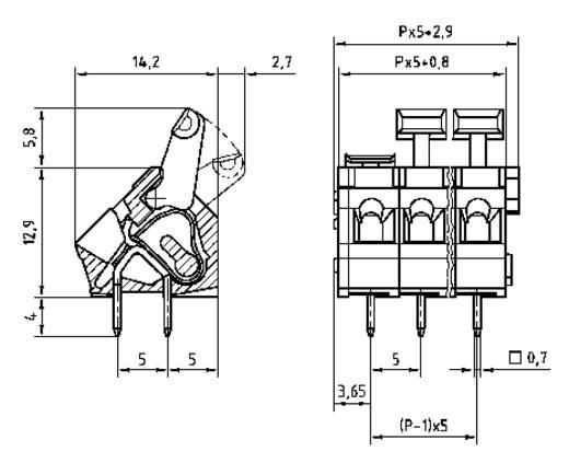 PTR AK3001/2KD-5.0 Federkraftklemmblock 2.50 mm² Polzahl 2 Kiesel-Grau 1 St.