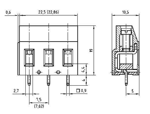 Schraubklemmblock 2.50 mm² Polzahl 3 AKZ710/3-7.62-V PTR Grün 1 St.