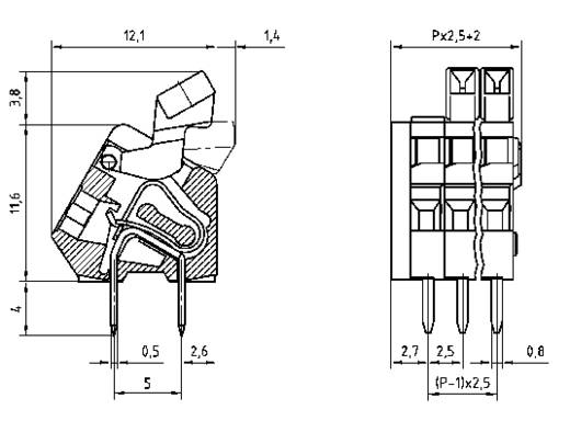 Federkraftklemmblock 0.50 mm² Polzahl 5 AK3191/5KD-2.5 PTR Kiesel-Grau 1 St.
