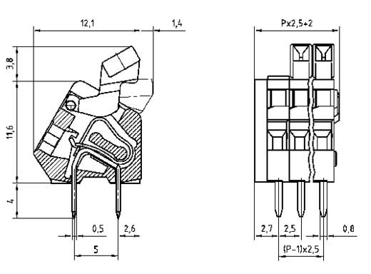 Federkraftklemmblock 0.50 mm² Polzahl 8 AK3191/8KD-2.5 PTR Kiesel-Grau 1 St.