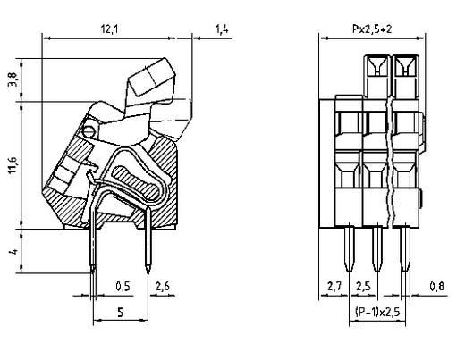 PTR AK3191/2KD-2.5 Federkraftklemmblock 0.50 mm² Polzahl 2 Kiesel-Grau 1 St.