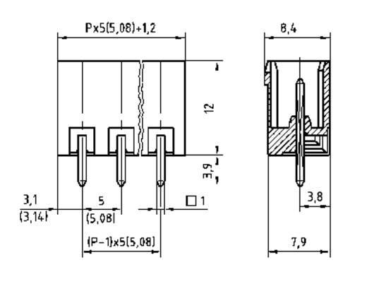 PTR 50950065121E Stiftgehäuse-Platine STL(Z)950 Polzahl Gesamt 6 Rastermaß: 5.08 mm 1 St.