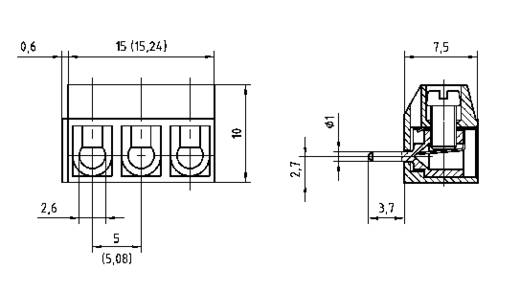 Schraubklemmblock 1.50 mm² Polzahl 3 AKZ500/3DS-5.08-H PTR Grau 1 St.
