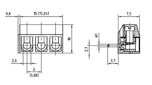 Schraubklemmblock 1.50 mm² Polzahl 5 AKZ500/5DS-5.08-H PTR Grau 1 St.