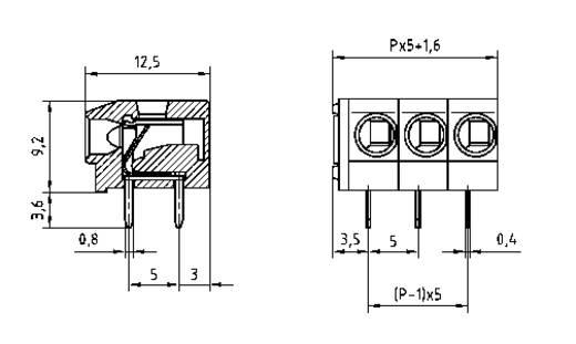 Federkraftklemmblock 2.50 mm² Polzahl 6 AK4100/6-5.0 PTR Kiesel-Grau 1 St.