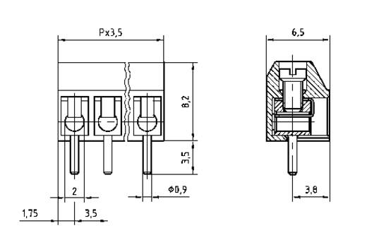 PTR AK550/10DS-3.5-V Schraubklemmblock 1.00 mm² Polzahl 10 Grau 1 St.