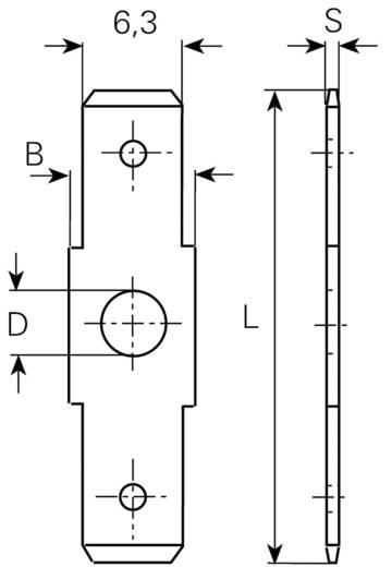 Steckzunge Steckbreite: 6.3 mm Steckdicke: 0.8 mm 180 ° Unisoliert Metall Vogt Verbindungstechnik 38750B.60 1 St.