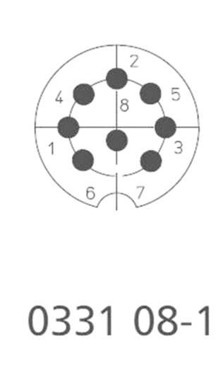 DIN-Rundsteckverbinder Stecker, gerade Polzahl: 8 Silber Lumberg 0332 08-1 1 St.