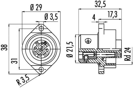 Standard-Rundsteckverbinder Serie 693 Pole: 6 + PE Flanschstecker 10 A 09-4220-00-07 Binder 1 St.