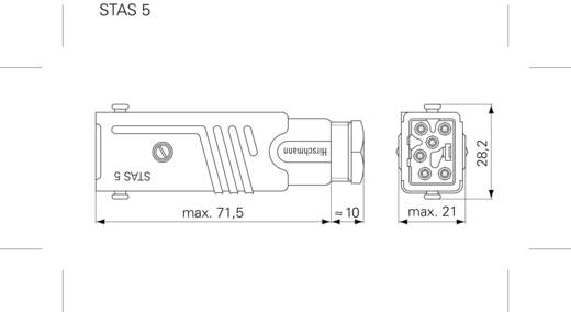 Netz-Steckverbinder Serie (Netzsteckverbinder) STAS Stecker, gerade Gesamtpolzahl: 5 + PE 6 A Grau Hirschmann STAS 5 1