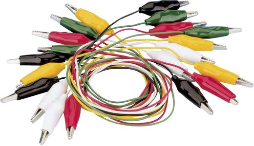 Messleitungs-Set [Abgreifklemmen - Abgreifklemmen] 0.54 m Schwarz, Rot, Gelb, Grün, Weiß VOLTCRAFT KS-540/0.5