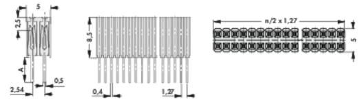 Buchsenleiste RM 1,27 mm BLM kg 2/72/G Fischer Elektronik Inhalt: 1 St.