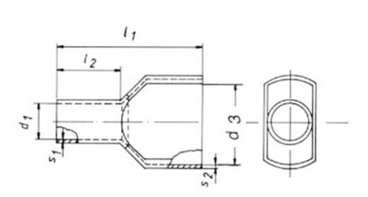 Zwillings-Aderendhülse 2 x 6 mm² x 14 mm Teilisoliert Gelb Klauke 87514 100 St.