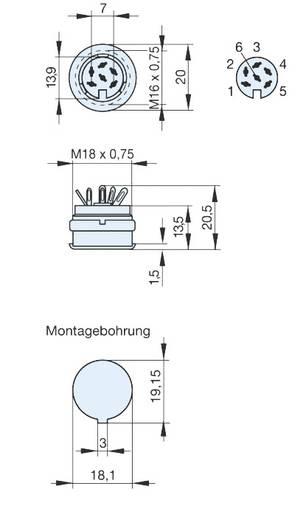DIN-Rundsteckverbinder Buchse, Einbau vertikal Polzahl: 6 Grau Hirschmann MAB 6100 1 St.