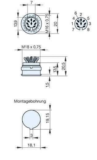 DIN-Rundsteckverbinder Buchse, Einbau vertikal Polzahl: 8 Grau Hirschmann MAB 8100 S 1 St.