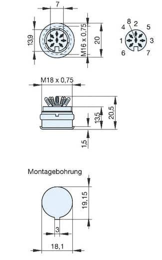 DIN-Rundsteckverbinder Buchse, Einbau vertikal Polzahl: 8 Grau Hirschmann MAB 8100 SN 1 St.