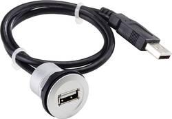 USB 2.0 zásuvka Typ A vestavná se zástrčkou Schlegel RRJ_USB_609, IP67, 60 cm, černá