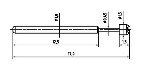 PTR 1010-C-0.8N-AU-1.5C Präzisionsprüfstift