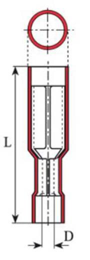 Rundsteckhülse 0.50 mm² 1 mm² Stift-Ø: 4 mm Vollisoliert Rot Vogt Verbindungstechnik 3915 1 St.