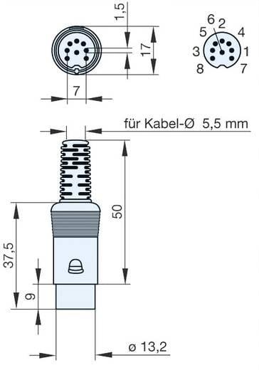 DIN-Rundsteckverbinder Stecker, gerade Polzahl: 8 Grau Hirschmann MAS 80 S 1 St.