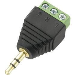 Jack konektor 3.5 mm stereo zástrčka, rovná TRU COMPONENTS LT-PJ-3.5, pinov 3, čierna, 1 ks