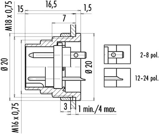 Miniatur-Rundsteckverbinder Serie 682 Pole: 5 Stereo Flanschstecker 6 A 09-0319-80-05 Binder 1 St.