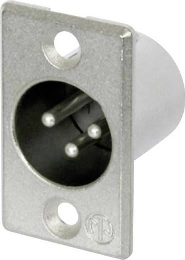 XLR-Steckverbinder Flanschstecker, Kontakte gerade Polzahl: 3 Silber Neutrik NC3MP 1 St.