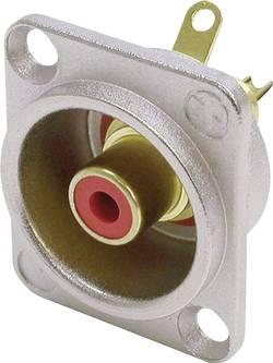 Cinch konektor Neutrik NF2D2, přírubová zásuvka, rovná, pólů 2, stříbrná, červená, pozlacený, 1 ks