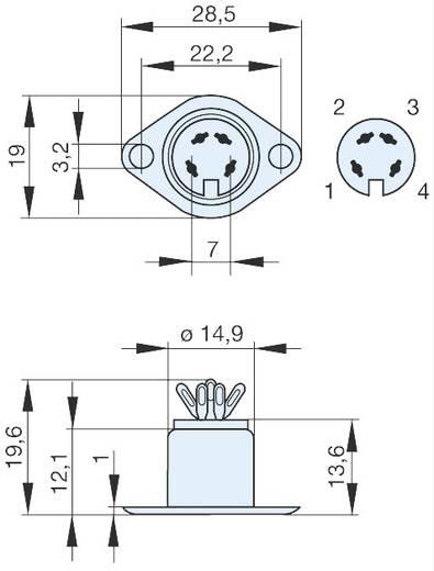 DIN-Rundsteckverbinder Flanschbuchse, Kontakte gerade Polzahl: 4 Silber Hirschmann MAB 4 1 St.