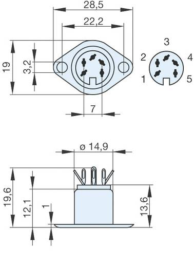 DIN-Rundsteckverbinder Flanschbuchse, Kontakte gerade Polzahl: 5 Silber Hirschmann MAB 5 1 St.
