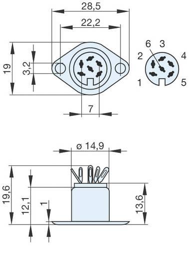 DIN-Rundsteckverbinder Flanschbuchse, Kontakte gerade Polzahl: 6 Silber Hirschmann MAB 6 1 St.